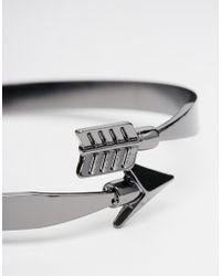 ASOS - Metallic Arrow Wrap Bangle In Gunmetal for Men - Lyst