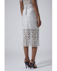 TOPSHOP - Metallic Limited Edition Silver Cornelli Pencil Skirt - Lyst