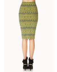 Forever 21 | Green Bold Tribal Print Midi Skirt | Lyst