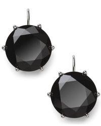 Lauren by Ralph Lauren - Metallic Silver-Tone Faceted Jet Stone Drop Earrings - Lyst