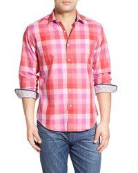 Bugatchi Pink Classic Fit Check Print Sport Shirt for men