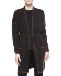 Max Mara Brown Cashmere-blend Contrast Trimmed Wrap Cardigan
