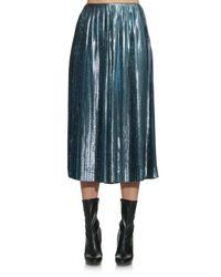 Loewe Blue Pleated Metallic Silk-blend Skirt