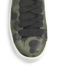 COACH - Green Camouflage Leather Sneakers - Lyst