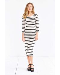BDG - White Striped Knit Midi Dress - Lyst