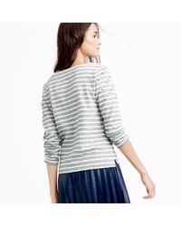 J.Crew Gray Embellished-yoke Striped T-shirt