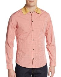 Carven | Red Contrast-collar Micro Gingham Sportshirt for Men | Lyst