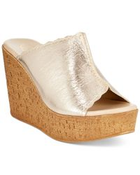 Callisto | Metallic Vashon Platform Wedge Sandals | Lyst