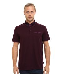 Ted Baker | Purple Rowhan Short Sleeve Texture Flatknit Collar Polo for Men | Lyst