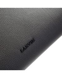 Lanvin - Gray Dark Grey Medium Leather Pouch for Men - Lyst