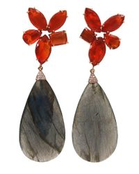 Irene Neuwirth Black Labradorite, Opal And Diamond Drop Earrings