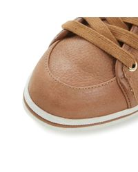 Dune - Brown Landscaped Lace Up with Side Zip Trainers - Lyst