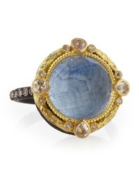Armenta | Blue Old World Round Kyanite Midnight Ring With Diamonds | Lyst