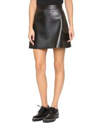 MSGM - Black Faux Leather Skirt - Lyst