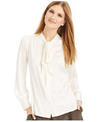 Vince Camuto | White Button-down Bow-neck Blouse | Lyst