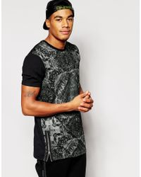 ASOS Black Fitted Fit 3/4 Sleeve T-shirt With Contrast Raglan In Waffle Fabric for men