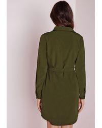 Missguided - Natural Utility Shirt Dress Khaki - Lyst