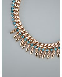 Mawi Metallic Spike Necklace with Crystals