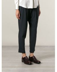 Brunello Cucinelli Gray Loose Fit Cropped Trousers