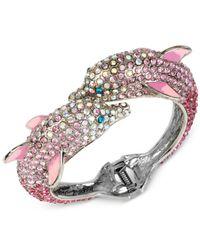 Betsey Johnson Pink Silver-tone Pavé Dolphin Hinged Bangle Bracelet
