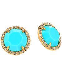 Fossil - Blue Button Studs Earrings - Lyst