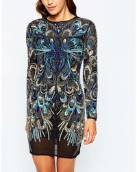 ASOS - Multicolor Red Carpet Peacock Embellished Long Sleeve Mini Bodycon Dress - Lyst