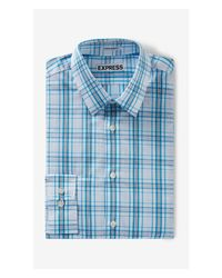 Express | Blue Tall Extra Slim Fit Plaid Dress Shirt for Men | Lyst