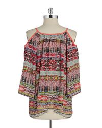 Lord & Taylor | Multicolor Cold-shoulder Top | Lyst