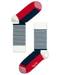 Happy Socks | Blue Half Stripe Socks for Men | Lyst
