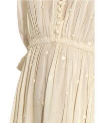 Mes Demoiselles White Louise Embroidered Cotton-Gauze Dress