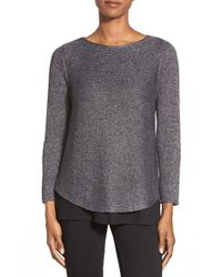 Eileen Fisher | Metallic Ballet Neck Linen Blend Knit Top | Lyst