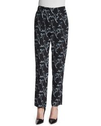 Thakoon Addition - Black Floral Silk Ankle Pants - Lyst