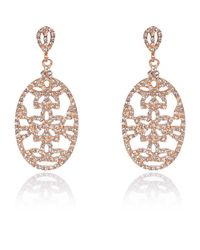 River Island Pink Rose Gold Plated Diamante Drop Earrings