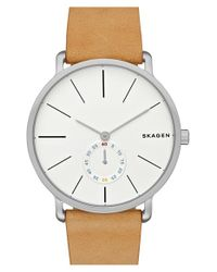 Skagen | Natural 'hagen' Leather Strap Watch for Men | Lyst