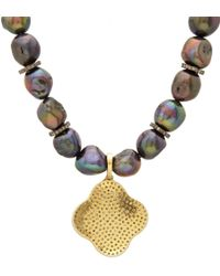Carole Shashona | Black Tahitian Pearl Diamond Noir Lotus Pendant Necklace | Lyst
