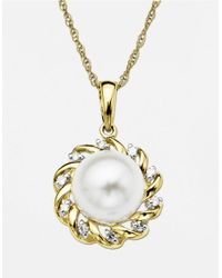 Lord & Taylor | Metallic 14 Kt. Yellow Gold Freshwater Pearl Pendant With Diamonds | Lyst