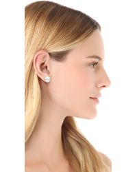 Tory Burch | Metallic Large T Logo Stud Earrings - Silver | Lyst