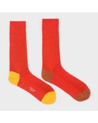 Paul Smith Men's Red Odd Socks With Contrasting Heel And Toe for men