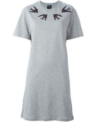 McQ - Gray Sequinned Swallow T-Shirt Dress - Lyst