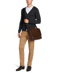 BOSS Brown Leather Shoulder Bag: 'busia' for men