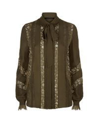 Elie Saab - Green Lace Insert Blouse - Lyst