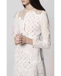 Huishan Zhang - White Embroidered Dress With Sheer Illusion - Lyst