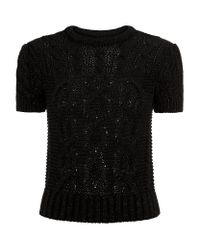 Polo Ralph Lauren Black Metallic Cropped Cable Knit Sweater
