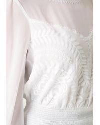 Bebe - White Embroidered Long Sleeve Top - Lyst