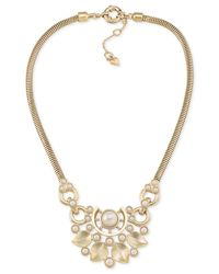 Carolee - Metallic Gold-tone Imitation Pearl Statement Necklace - Lyst