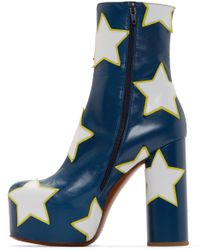 Vetements Blue And White Star Platform Boots