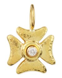 Elizabeth Locke | Metallic Small Diamond Maltese Cross Pendant | Lyst
