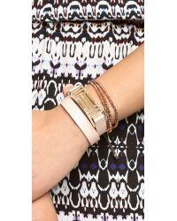 Tory Burch Brown For Fitbit Fret Double Wrap Bracelet - Light Oak/Rose Gold
