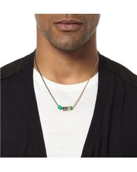 Lanvin - Green Metal and Bead Twotone Necklace for Men - Lyst