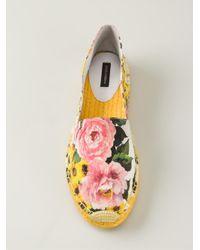 Dolce & Gabbana - Yellow Peony Print Espadrilles - Lyst